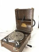 Antique Marveltone Portable Wind Up Phonograph Record Player