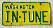 License Plate For Musician Or Auto Repair Shop In-tune, Green/gold Washington