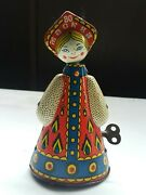 Vintage Doll Moscow 80 Matryoshka Tin Toy Metal Wind Up Cccp Ussr Soviet Russia