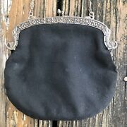 Vtg Black Fabric Purse Evening Bag Silver Fish Frame Floral Lining Italy 30s 40s