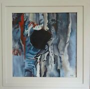 Tree Form Katy Wroe Oil Painting Framed Wood Panel Neutral Blue Red Grey White