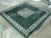 3and039x3and039 Green Marble Table Top Coffee Center Corner Inlay Home Decor With Stand