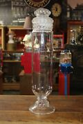 Antique Pedestal Candy Jar 27 General Store Glass Or Apothecary Vintage Glass