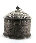 Antique Handcrafted Silver Box Hand Engraved Fine Work Rare Collectible Round