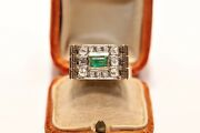 Antique Victoria Time 14k Gold Natural Diamond And Emerald Knight Style Ring