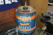 Vintage 1960and039s Allstate Motor Oil 5 Gallon Tin Can Empty