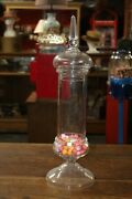 Antique Pedestal Candy Jar Finial Top General Store Or Apothecary Vintage Glass