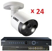 New Lorex 32 Channel 4k Nvr 8tb + 24 8mp Ip Active Deterrence Security Cameras