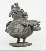 Antique Handcrafted Brass Oil Lamp Rare Decorative Collectible India Decorative