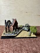 1/35 Pro Built Plastic Model Diorama Ww2 Tank And Destroyed Building