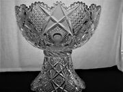 American Brilliant Cut Glass Well Cut 2 Part 14 Punch Bowl Think Holidays