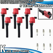 Fd502 Red Ignition Coils + Sp433 Spark Plugs For 00-07 Ford Mercury Montego 3.0l