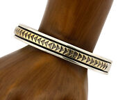 Navajo Bracelet .925 Silver Solid 14k Yellow Gold Signed Mm Rogers And Djm C80-90s