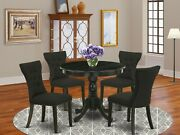 5pc Kitchen Dining Set 36 Round Table W/ 4 Parsons Chairs In Wire Brushed Black