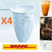 Thai Tea Coffee Filter Reusable Sock Cotton Cloth Bag Strainer Handle Stainless