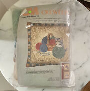 I See You Cat Picture Pillow Crewel Vintage 1972 Colombia Minerva 16x18