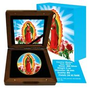 Lady Of Guadalupe 2019 2 Oz Mexican Silver Libertad Colorized Gold Gilded Coin
