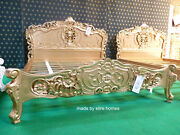 Stock European Queen 160x200cm Mahogany French Furniture Baroque Gold Rococo Bed