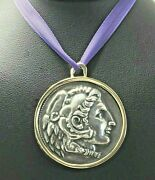 Alexander The Great 9ct Pendant Thick Handmade Mount Zeus Silver Coin Large 33.7