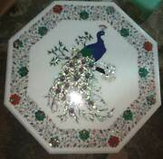 30 Peacock Dining Lunch Coffee Table Top Inlay Mosaic Malachite Octagon