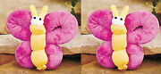 New Pink Butterfly Pair Of Overstuffed Plush Dog Puppy Squeaky Toys Gift Bundle