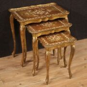 Triptych Coffee Tables Furniture In Gold Wood Antique Style Living Room 900