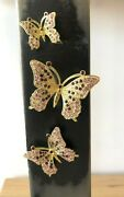 Butterfly Magnet 3 Pices Set - Hand Made By Keren Kopal With Austrian Crystal