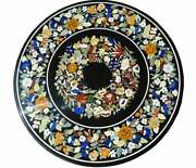 36and039and039 Black Marble Coffee Corner Table Top Mosaic Home Floral Antique Inlay Decor