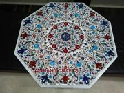 42 White Marble Table Top Dining Coffee Center Inlay Lapis Mosaic Multi Made