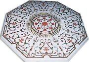 4and039x4and039 White Marble Center Table Top Inlay Handmade Home Decor Malachite Gifts