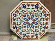 42 White Marble Dining Coffee Corner Octagon Table Top Mosaic Malachite Inlay