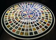 4and039 White Marble Center Table Top Semi Precious Stones Round Inlay Home Decor