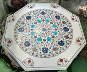 42and039and039 White Marble Dining Table Top Center Pietra Dura Inlay Home Garden Decor
