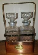 Vtg Pair Of Clear Cut Glass Liquor Decanters W/ Brass And Copper Caddy Barware