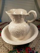 Grape Leaves And Vines / Hard To Find / Large Water Pitcher And Basin White Pottery