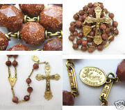 † Htf Antique Real Gold Wash Over Sterling Goldstone Glittery Rosary Necklace †