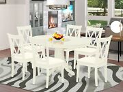 7pc Dining Set Avon 42x60 Table + 6 Clarksville Xx-back Padded Chairs Off-white