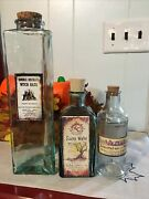 Halloween Lot Of 3 Glass Potion Bottles Cork Top Witch Apothecary Seasonal