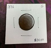 1876 U.s. Indian Head Penny Cent Good Condition 2.95 Max Shipping C4408