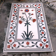 4and039x2and039 White Marble Table Top Center Coffee Mosaic Lapis Inlay Home Decor G963