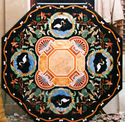 4and039 Black Marble Table Top Coffee Center Center Inlay Lapis Home Decor Bird