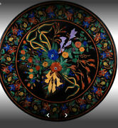 4and039 Black Marble Center Inlay Pietra Dura Table Top Handcrafted Work