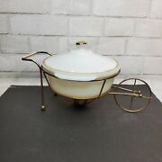 Vintage Fire King Casserole Mcm Warming Stand Chaffing Dish, Farmhouse Country