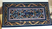 5and039x2.5and039 Black Marble Table Top Coffee Dining Center Inlay Malachite Decor S117