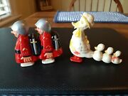 Vintage Ramp Walker Celluloid Toy Walking Duck Family Plus Hap And Hop Soldiers
