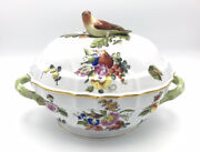 Vintage Herend Porcelain Large Soup Tureen 1014 Fruits And Flowers W/ Bird Handle
