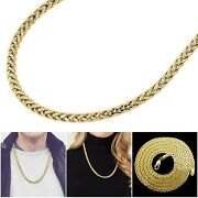 Mens Womens 10k Yellow Gold Rounded Wheat Palm Chain Necklace 5mm 20 - 30