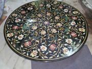 42and039and039 Black Marble Table Top Coffee Center Fancy Inlay Mosaic Home Fancy