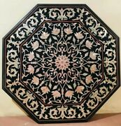 42'' Black Octagon Marble Coffee Side Table Top Inlay Dining Handmade Decor