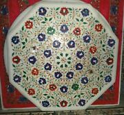 3and039 White Marble Side Center Table Top Pietra Dura Inlay Art Handicraft Decor